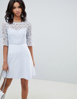 French Connection Corded Lace Mini Dress - Sea breeze