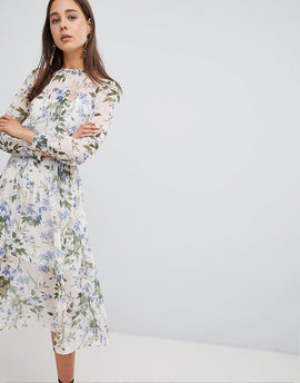 New Look Summer Floral Midi Dress - White pattern