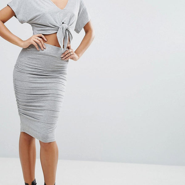 Kendall  Kylie Tie Dress - Grey