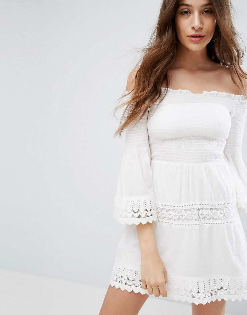 Bershka Shirring And Crochet Dress - White