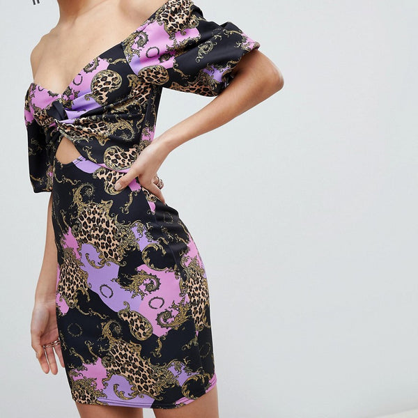 Flounce London Printed Off Shoulder Bodycon Midi Dress With Cut Out Front - Multi