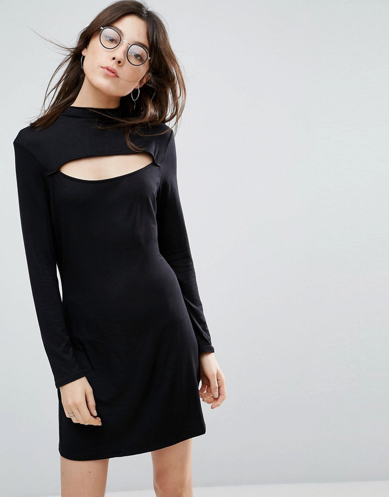 NYTT High Neck Mini Dress With Slash Front - Black
