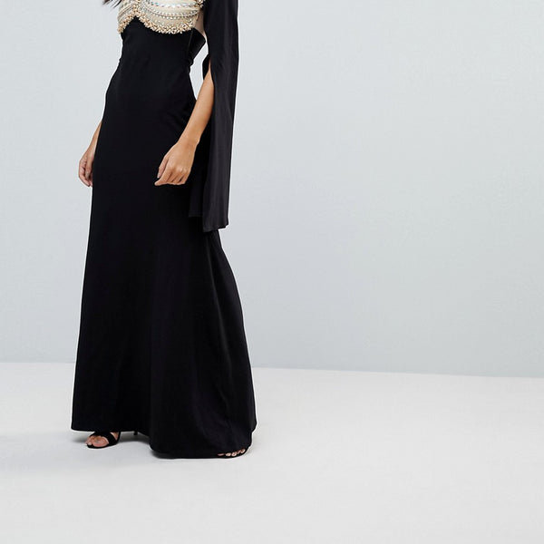 A Star Is Born Cape Sleeved Jersey Maxi Dress With Embellished And Mesh Top - Black