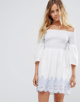 Miss Selfridge Bardot Embroidered Dress - Ivory