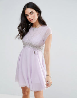 Free People Rock Candy Embllished Party Dress - Lilac