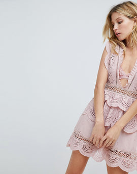PrettyLittleThing Crochet Lace Plunge Swing Dress - Dusty pink