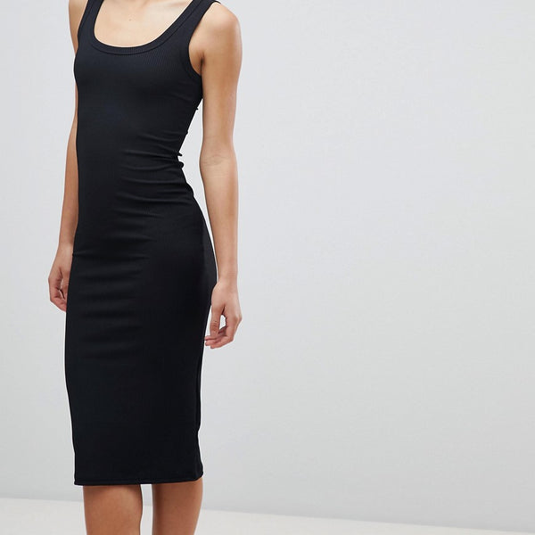 Miss Selfridge Basics Ribbed Bodycon Midi Dress - Black