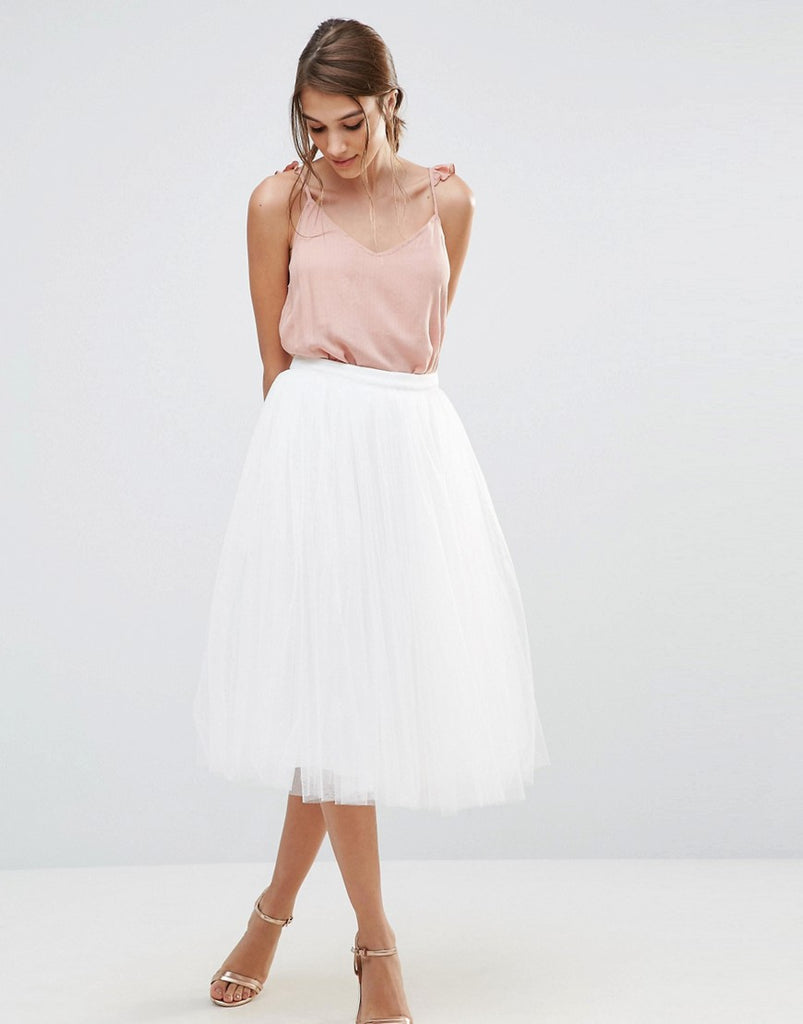 Little Mistress Midi Tulle Skirt - White