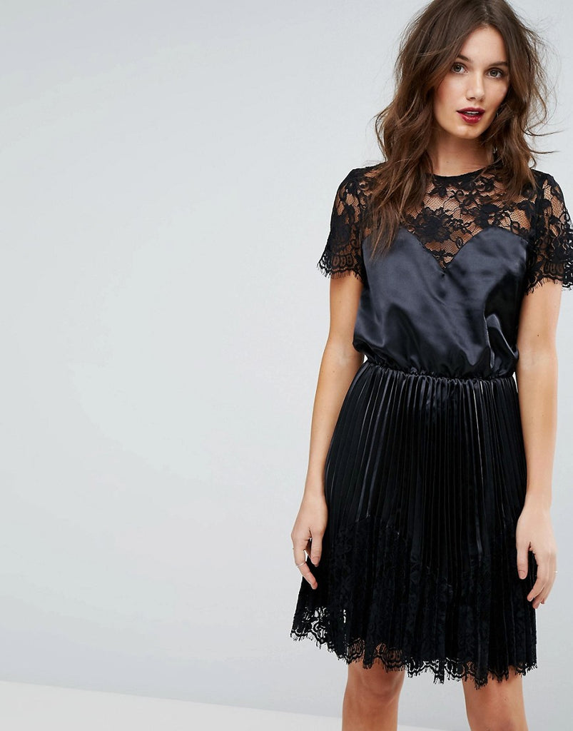 Y.A.S Satin Dress With Lace Detail - Black