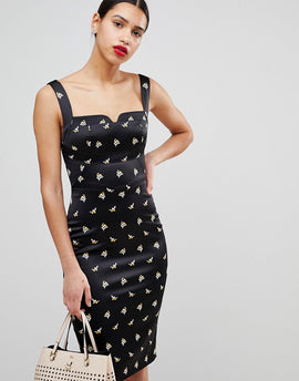 Karen Millen Satin Pencil Dress In Spring Print - Black/ multi