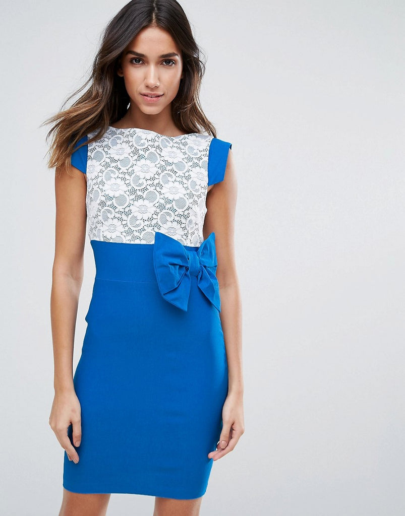 Vesper Mini Dress With Lace Panel And Bow Detail - Blue