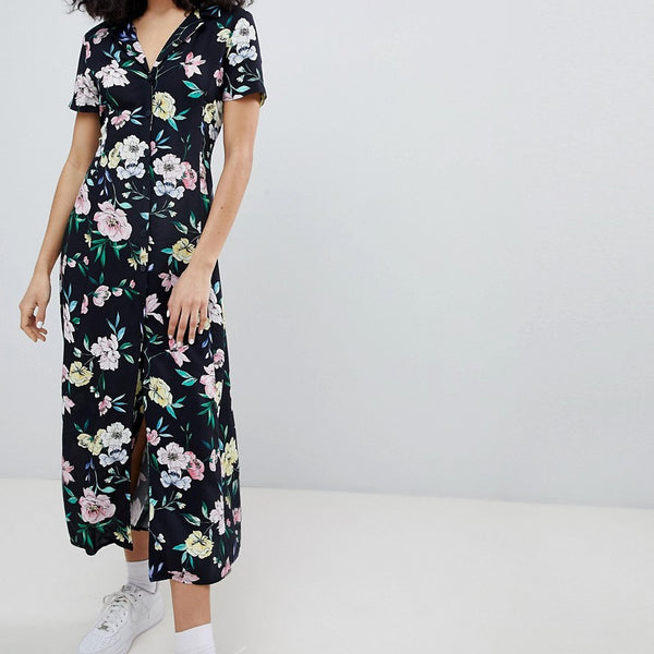 Bershka floral midi shirt dress in black - Black