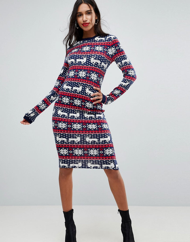 Club L Fairisle Christmas Bodycon Dress - Navy/red