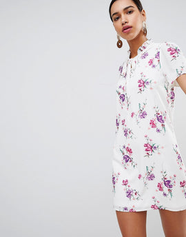 Fashion Union Tie Neck Shift Dress In Vintage Floral - Vintage bloom