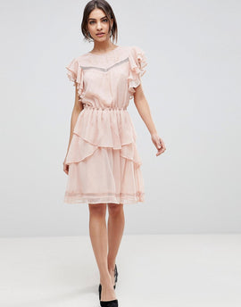 Y.A.S Ruffle Skater Dress With Lace - Pink