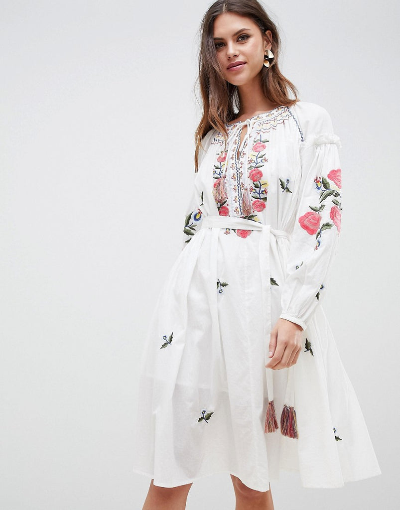French Connection Embroidered Smock Dress - Summer white