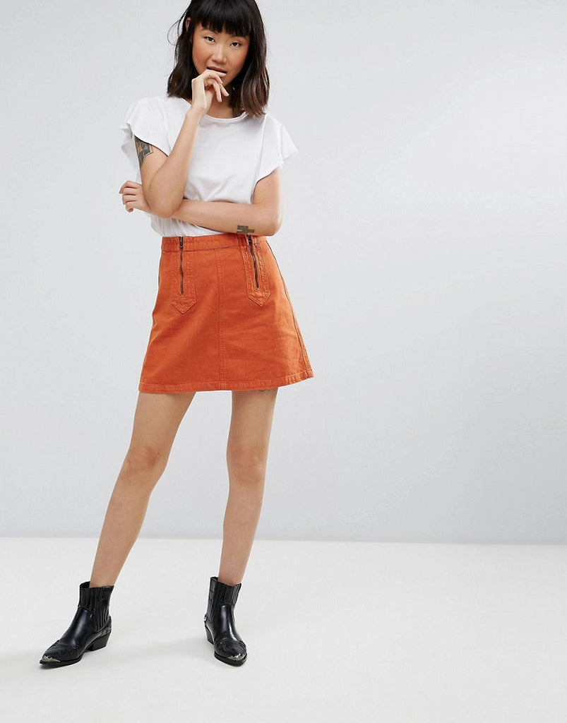 M.i.h Jeans Arrow Mini Denim Skirt - Orange