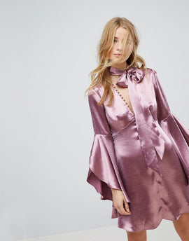 Honey Punch Long Sleeve Tea Dress With Button Front And Neck Tie In Premium Satin - Plum satin