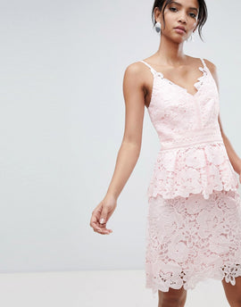 Ted Baker lace peplum dress - Pale pink