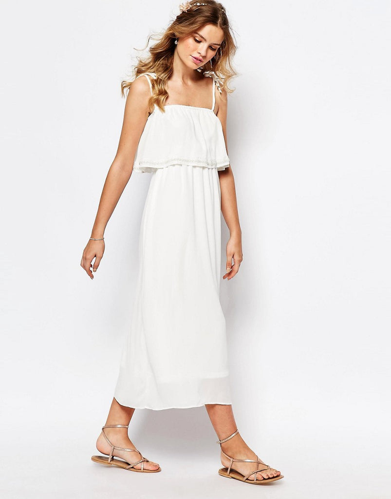 Darccy Cami Layered Maxi Dress with Embellished Neckline - Blue