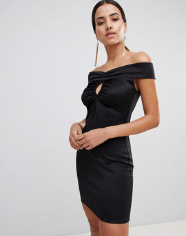 Love Bardot Bodycon Dress - Black