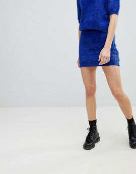 E.L.K Mini Skirt In Fluffy Knit Co-Ord - Electric blue