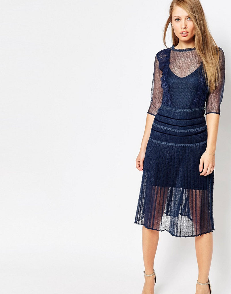 Body Frock Louisa Sculpting Dress with Pleat Skirt and Lace - Navy