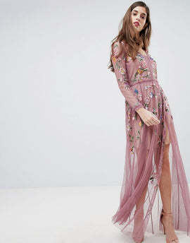 French Connection Sheer Embroidered Maxi Dress - Rose