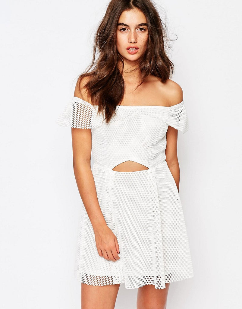 Missguided Bardot Grid Lace Prom Dress - White