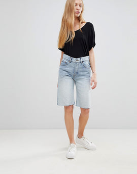Cheap Monday Straight Cut Off Denim Shorts - Blue blaze