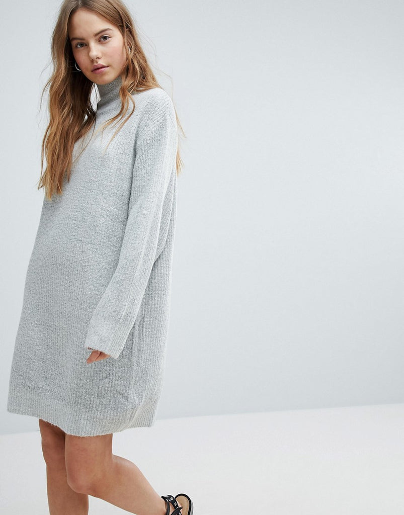 Bershka High Neck Knitted Jumper Dress - Grey