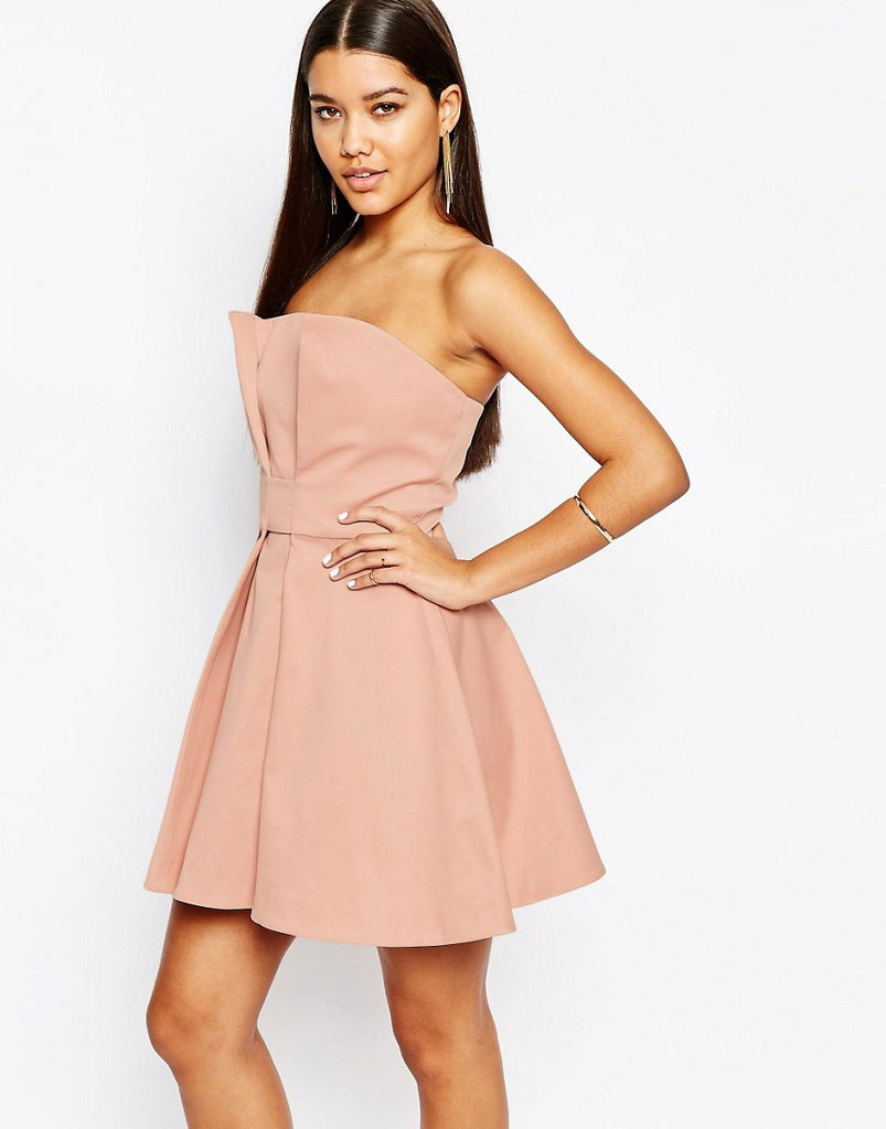AQ/AQ Bandeau Prom Mini Dress - Blush peach