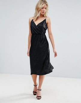 Zibi London Metallic Wrap Cami Midi Dress - Black