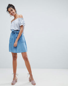 Oasis Paperbag Waist Chambray Mini Skirts - Rinse wash