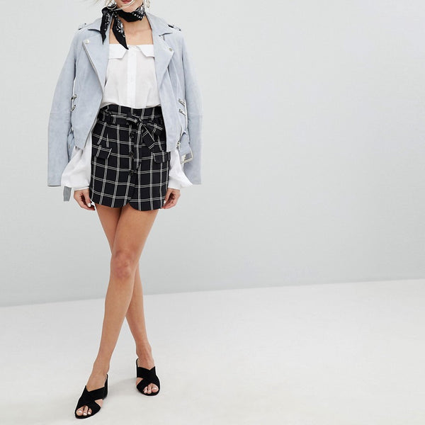 Current Air Check Mini Skirt - Black/white