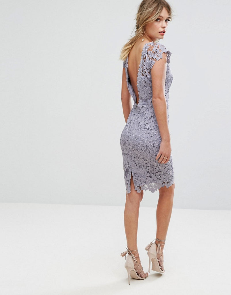 Paper Dolls Midi Lace Dress with Scalloped Back - Oyster grey
