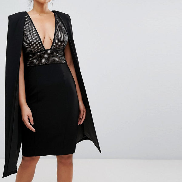 Misha Collection Structured Sequin Midi Dress With Cape Overlay - Black