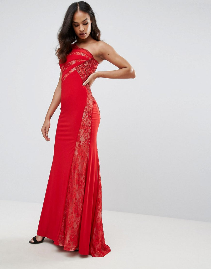 Forever Unique One Shoulder Maxi Dress - Red