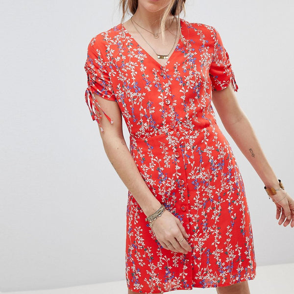 Moon River Ditsy Floral Wrap Dress - Red floral