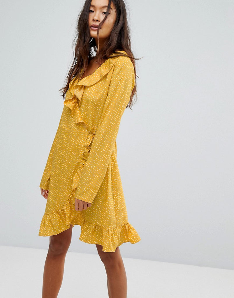 Vila Spotty Wrap Dress - Yellow
