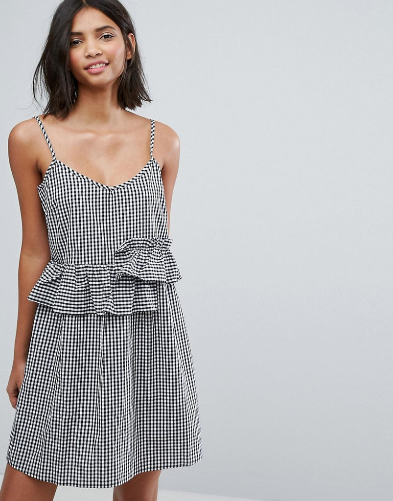 Lost Ink Mini Dress With Frills In Gingham - Black