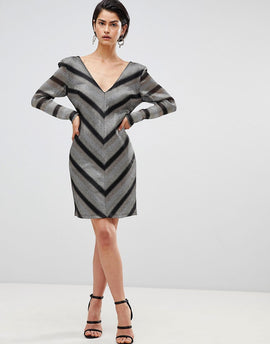 Forever Unique Chevron Shift Dress - Silver/gold