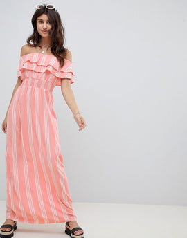 PrettyLittleThing Striped Bardot Maxi Dress - Pink