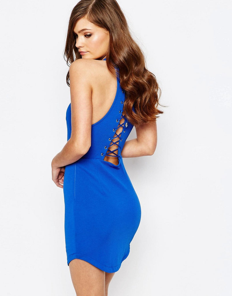 Ginger Fizz Cut Away Neck Bodycon Dress With Lace Up Back - Cobalt