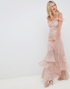 ASOS DESIGN cami dobby bardot ruffle fishtail maxi dress - Nude