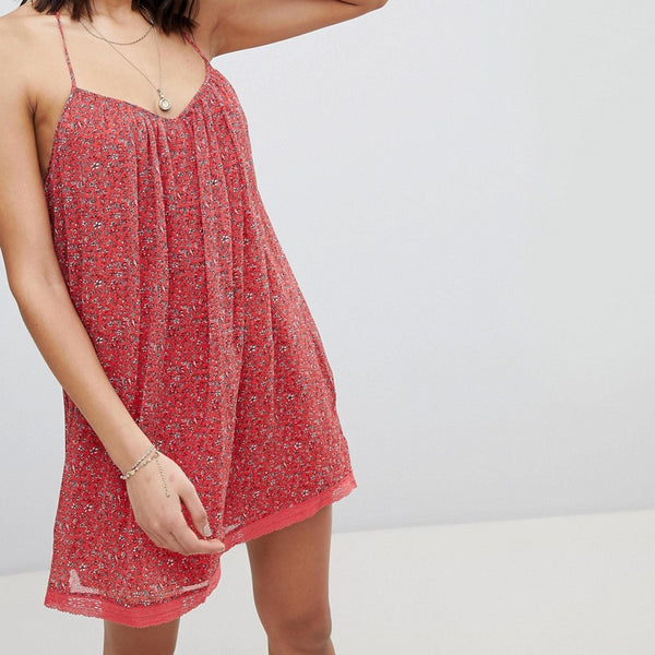 Abercrombie & Fitch Lace Tiered Swing Dress - Red print