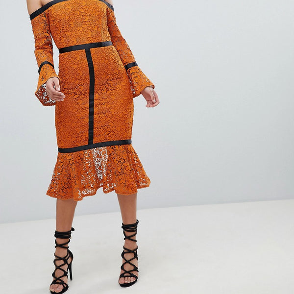 The 8th Sign Long Sleeve Pencil Dress With Pephem - Rust