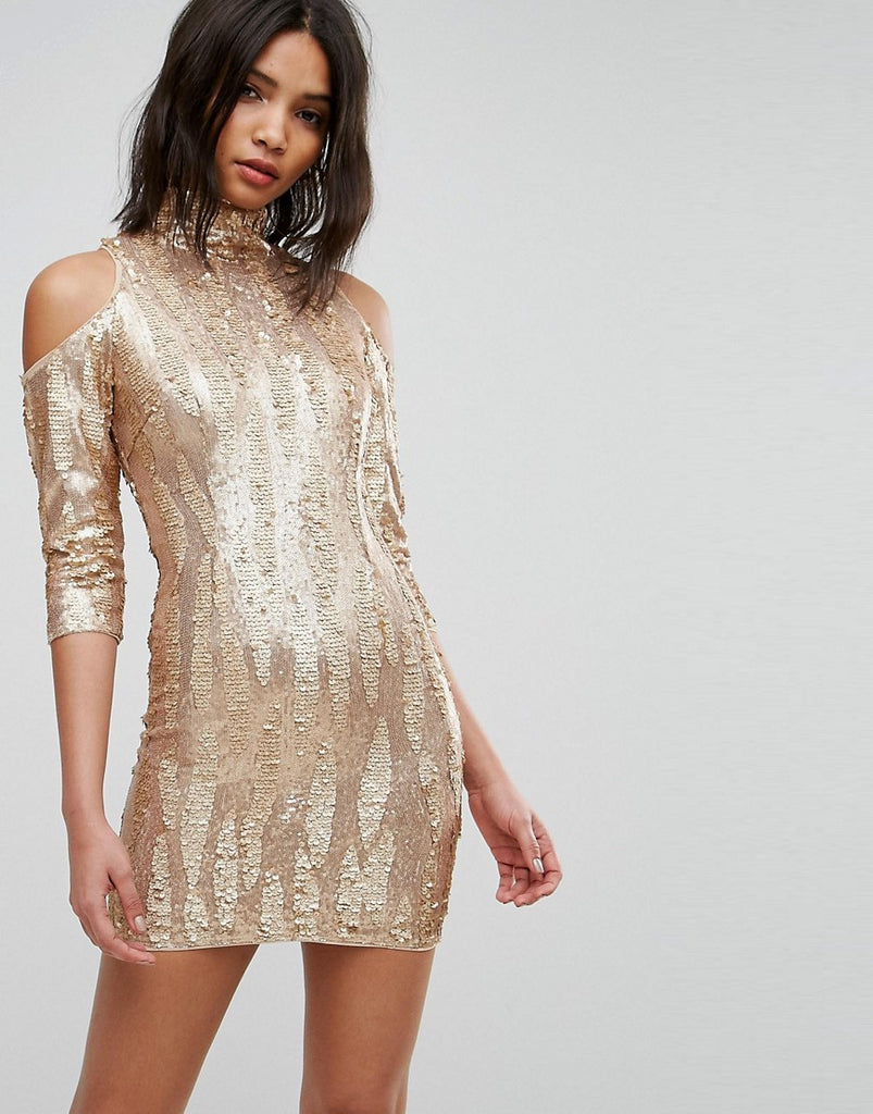 TFNC High Neck Sequin Mini Dress With Cold Shoulder - Gold