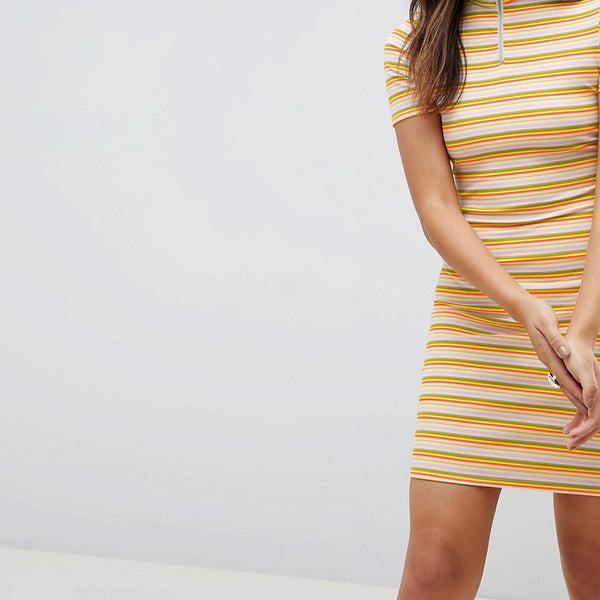 Daisy Street Bodycon Dress With Zip In Neon Stripe - Orange stripe