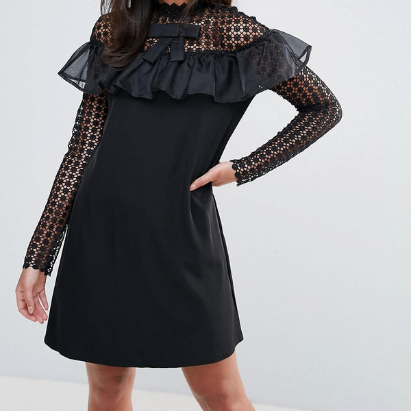 Amy Lynn Occasion Long Sleeve Shift Dress With Mesh Polka Dot Sleeves And Frill Detail - Black